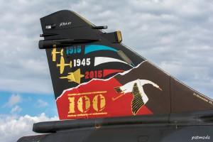 Détails de la dérive du Mirage 200D n° 624, 133-IT, du 2/3 Champagne et de la  décoration spéciale des 100 ans de la SPA 67.