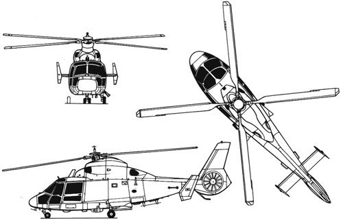 Exemple d'hélicoptère à train d'atterrissage muni de roues