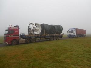 Arrivée des moteurs sur le site d'assemblage de Cardington en Décembre 2014, Crédit : Goodyear