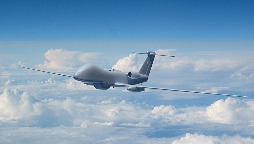 Illustration du futur MALE RPAS européen. Avant même les futurs vecteurs de combat, les drones MALE pouvant être armés vont mobiliser une part non négligeables des budgets de développement européens. Source Airbus