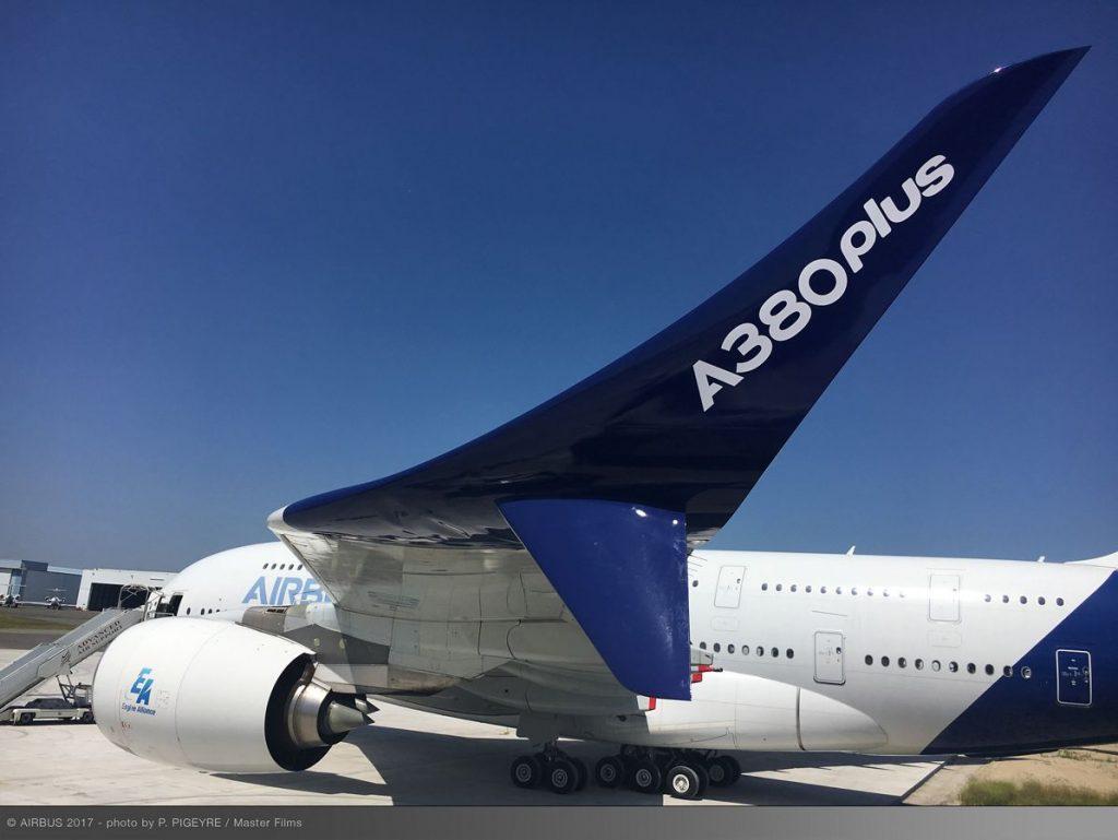 La maquette de l'A380plus présenté sur l'A380 F-WWDD du Musée de l'Air et de l'Espace du Bourget