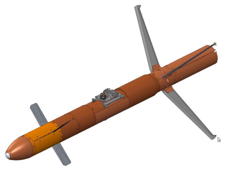 Illustration informatique de la future BAT-120LG, canards et stabilisateurs déployés. Source Thales