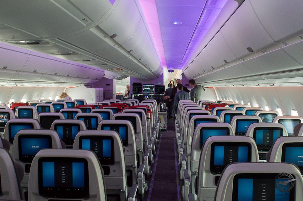 La deuxiéme partie de cabine Economy équipé avec des siéges Zodiac Aérospace