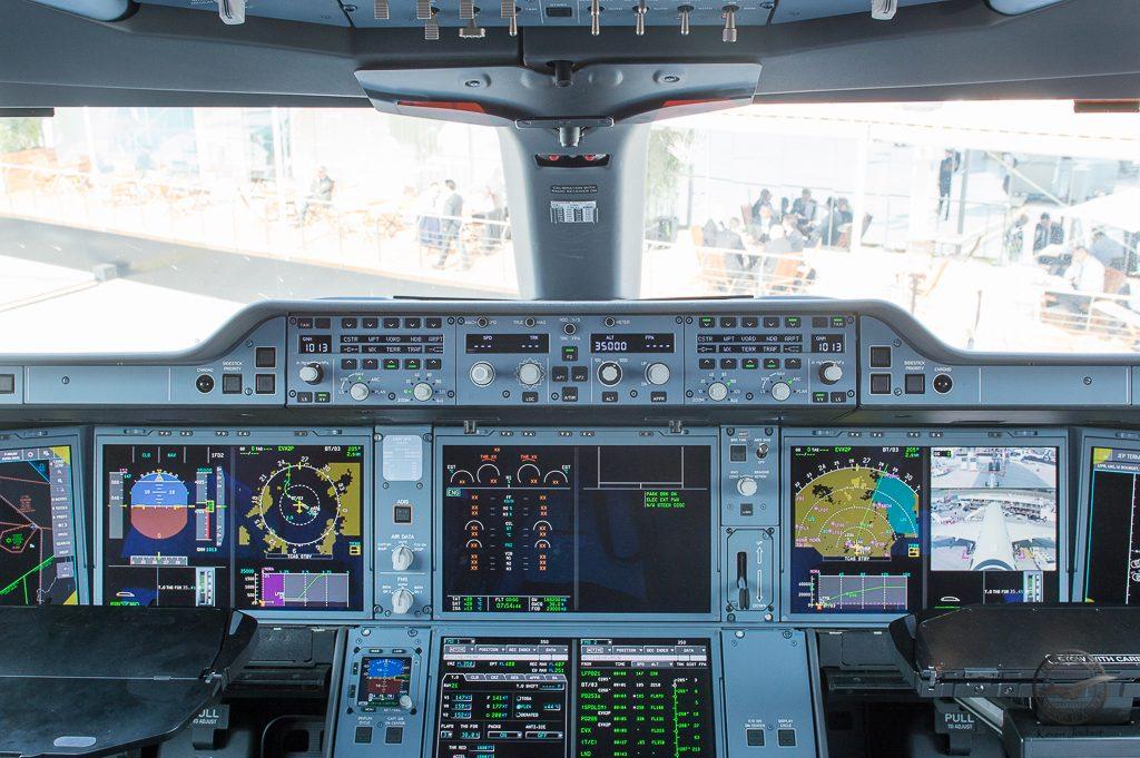 Le cockpit de l'A350-1000