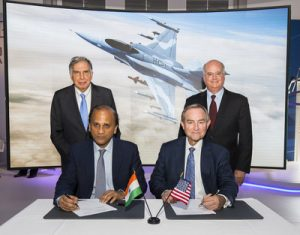 Sukaran Singh, CEO of Tata Advanced Systems Limited, (seated left) and George Standridge, vice president of Strategy and Business Development, Lockheed Martin Aeronautics, sign a letter of intent to produce the F-16 Block 70 in India. Standing are Mr. Ratean Tata, Chairman Emeritus, Tata Sons, and Orlando Carvalho, executive vice president of Lockheed Martin Aeronautics. (Lockheed Martin photo) (PRNewsfoto/Lockheed Martin Aeronautics Com)