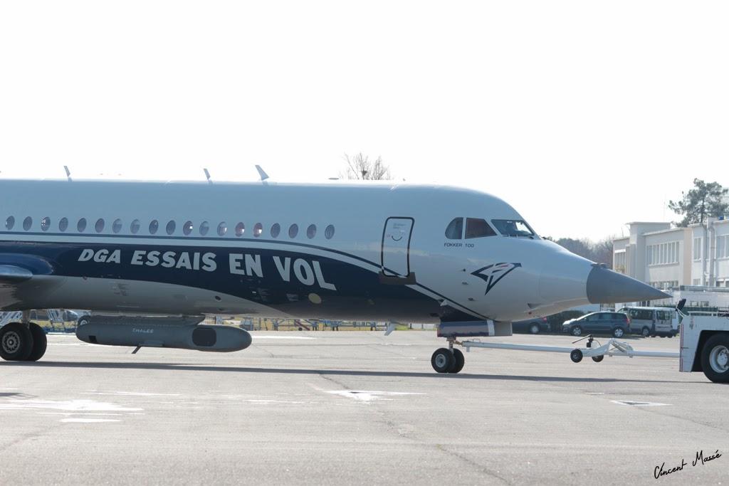 Visite du Fokker 100 de la DGA, futur banc d'essais Rafale